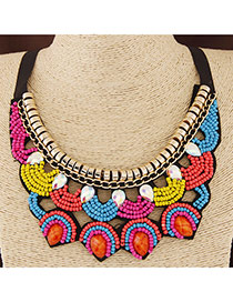 Bohemia Multi-color Beads Dcorated Hollow Out Collar Design