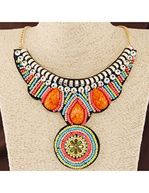 Bohemia Multi-color Beads Weave Round Shape Pendant Decorated Collar Design Alloy Bib Necklaces