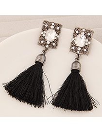 Elegant Black Square Diamond Decorated Tassel Design  Alloy Stud Earrings