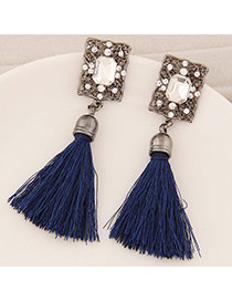 Elegant Navy Blue Square Diamond Decorated Tassel Design  Alloy Stud Earrings