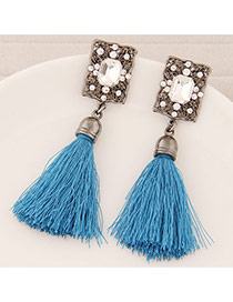 Elegant Sky Blue Square Diamond Decorated Tassel Design