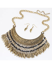 Exaggerate Bronze Leaf & Beads Decorated Tassel Collar Design  Alloy Jewelry Sets