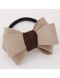 Sweet Khaki Big Bowknot Decorated Simple Design Rubber Hair band hair hoop