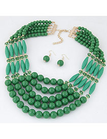 Elegant Dark Green Beads Weave Decorated Multilayer Design  Alloy Jewelry Sets