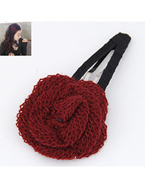 Elegant Red Rose Flower Shape Decorated Simple Design Alloy Hair clip hair claw
