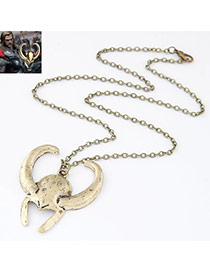 Retro Antique Golden Thor Mask Shape Pendant Decorated Simple Design Alloy Bib Necklaces