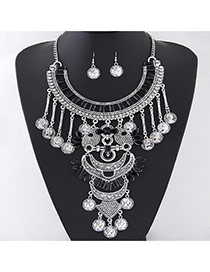 Exaggerate Black Coins Tassel Decorated Geometrical Shape Design Alloy Jewelry Sets