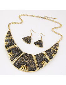 Exaggerated Black Gemstone Decorated Geometry Shape Design  Alloy Jewelry Sets