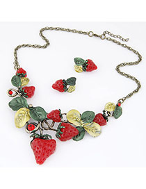 Prsonality Red Strawberry Shape Decorated Simple Design Alloy Jewelry Sets