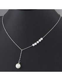 Fashion Silver Pearl Decorated Simple Design Alloy Chains