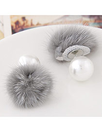 Sweet Gray Pearl Decorated Fur Ball Design  Alloy Stud Earrings