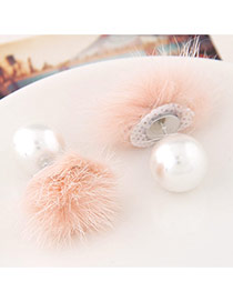 Sweet Pink Pearl Decorated Fur Ball Design  Alloy Stud Earrings