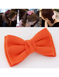 Sweet Orange Pure Color Bowknot Shape Design  Alloy Hair clip hair claw