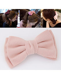 Sweet Pink Pure Color Bowknot Shape Design  Alloy Hair clip hair claw