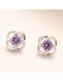 Personality Purple Diamond Decorated Flower Shape Design(anti-allergy) Cuprum Stud Earrings