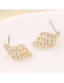 Personality Gold Color Diamond Decorated Multilayer Design