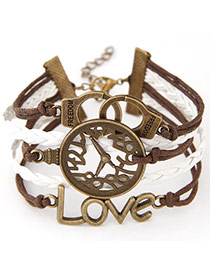 Retro Dark Coffee Clock Shape Decorated Multilayer Design  Alloy Korean Fashion Bracelet