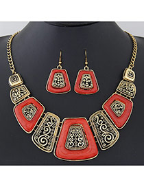 Exaggerate Red Geometric Shape Decorated Hollow Out Design  Alloy Jewelry Sets