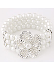 Elegance White Diamond&pearl Decorated Multilayer Design  Alloy Jewelry Sets