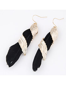 Personality Black Leaf &feather Weave Decorated Simple Design Alloy Korean Earrings