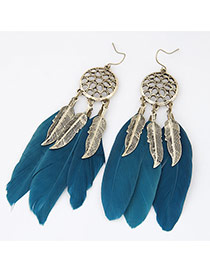 Personality Dark Blue Hollow Out Round Shape Decorated Feather Pendant Design Alloy