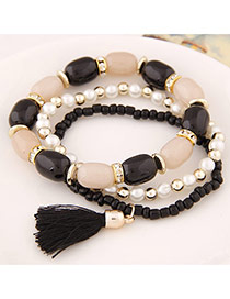 Fashion Black Tassel&beads Decorated Multilayer Design