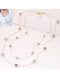 Fashion Multi-color Square Diamond Decorated Double Layer Design Alloy Chains