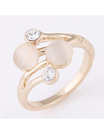 Sweet Gold Color Diamond Decorated Simple Design  Alloy Korean Rings