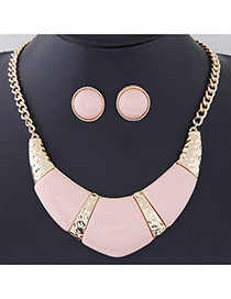 Temperament Pink Gemstone Decorated Geometrical Shape Design Alloy Jewelry Sets