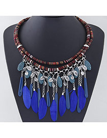 Temperament Silver Color Tassel Feather Decorated Double Layer Design Alloy Bib Necklaces