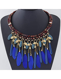 Temperament Gold Color Tassel Feather Decorated Double Layer Design