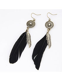 Personality Black Round Shape Decorated Feather Pendant Design