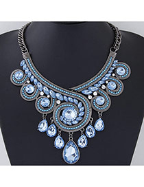 Exaggerate Blue Diamond Decorated Geometrical Shape Design