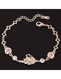Sweet Gold Color+pink Swan Shape Decorated Simple Design Alloy Korean Fashion Bracelet