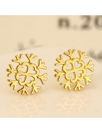 Personality Gold Color Snowflake Shape Decorated Hollow Out Design Cuprum Stud Earrings