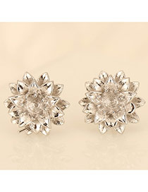 Personality Silver Color Flower Shape Decorated Simple Design Cuprum Stud Earrings