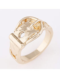 Personality Gold Color Buckle Shape Decorated Simple Design  Alloy Korean Rings