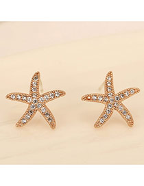 Sweet Champagne Diamond Decorated Starfish Shape Design  Zircon Stud Earrings