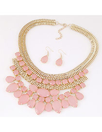 Exquisite Pink Waterdrop Shape Diamond Decorated Collar Shape Design  Alloy Jewelry Sets