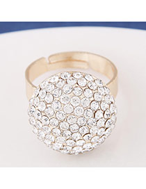 Exquisite Gold Color Diamond Ball Shape Decorated Simple Design  Alloy Korean Rings