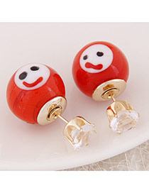 Cute Red Smiling Face Pattern Decorated Round Shape Design  Alloy Stud Earrings