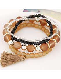 Elegant Brown Candy Color Beads Decorated Multilayer Design