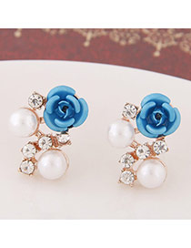 Sweet Blue Diamond&rose Flower Decorated Simple Design  Alloy Stud Earrings