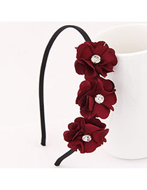 Sweet Claret-red Three Flower Decorated Simple Design  Alloy Hair band hair hoop