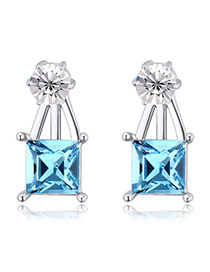 Exquisite Blue Square Diamond Decorated Simple Design  Alloy Crystal Earrings