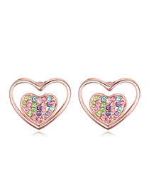 Exquisite Multi-color Diamond Decorated Heart Shape Design  Alloy Crystal Earrings