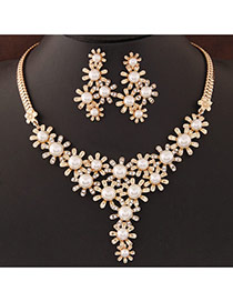 Temperamental Gold Color Pearl&diamond Decorated Y Shape Design Alloy Jewelry Sets