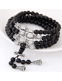 Fashion Black+white Beads Decorated Multilayer Design