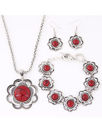 Fashion Red Flower Decorated Simple Design Alloy Jewelry Sets
