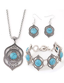 Fashion Blue Flower Decorated Hollow Out Design Alloy Jewelry Sets